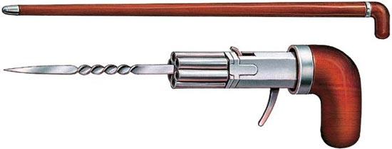 Трость оружейного мастера Николя Симона (Франция, 1895 год). Рукоятка представляет собой 6-ствольный «пепербокс» под патроны кольцевого воспламенения, со складным спусковым крючком и винтообразно закрученным штыком-стилетом