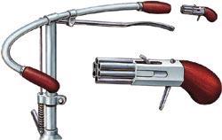 Шестиствольный «Пепербокс», укрываемый в рукоятках велосипедного руля