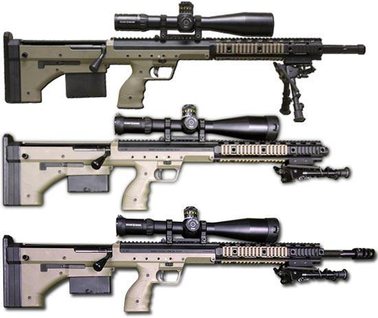 DT SRS калибра .300 Winchester Magnum, .308 Winchester, .338 Lapua Magnum (сверху - вниз)