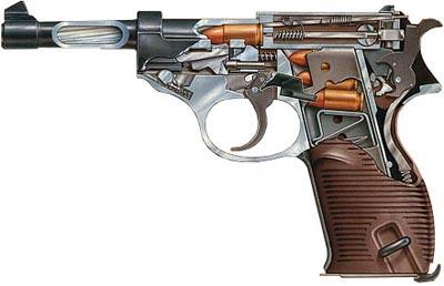 Разрез пистолета Вальтер Р.38 в патроннике ствола которого патрон фиксируется передним срезом гильзы