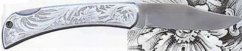 На ручке этого ножа, как и на всех ружьях Мауро Батталья, гравировка Макса Гобби