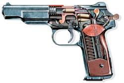 Автоматический пистолет АПС (в разрезе), СССР, 1951 г.