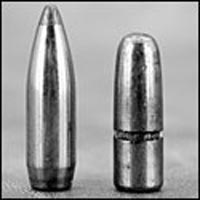 Обе эти 300-грановые пули калибра .375 имеют одинаковую поперечную плотность 0,305, но левая, с острым носом и «лодочной кормой», имеет БК 0,493, в то время как круглоносая только 0,250.