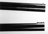 Стволы тестируемых ружей: сверху ствол Beretta AL391 Urika, снизу - ствол Browning Gold Fusion со светящейся мушкой