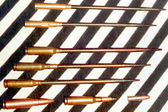 Патроны для подводного оружия: 4,5-мм СПС; 4,5-мм СПС (учебный); 5,66-мм МСП; 5,66-мм МСП с трассирующей пулей; 5,66-мм МСП (учебный). Снизу для сравнения: 7,62х39,5,45х39 и 5,6 Long Rifle