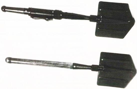 лопата-<a href='https://arsenal-info.ru/b/book/643295886/1' target='_self'>гранатомет</a> «Вариант» (вверху) складная малая пехотная лопата (внизу)