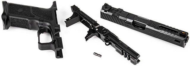 Пистолет ZEV O.Z-9 оснащается составной рамкой из стального основания и полимерной рукоятки