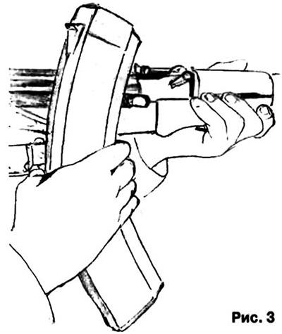 Рука обхватывает оба магазина, а большой палец касается кнопки фиксатора магазина (рис. 3)