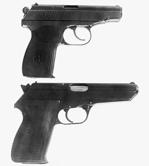 Пистолет ПМ (вверху) и чехословацкий пистолет под патрон 9х19, представленный на испытания в апреле 1949 года