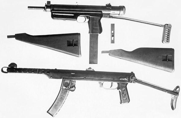 7,62-мм чехословацкий пистолет-пулемёт (вверху) и ППС-43. «Чех» мог комплектоваться складным металлическим или с двумя вариантами постоянных деревянных прикладов. При смене ствола и магазина под патрон 9х19 для надёжного крепления магазина в рукоятке использовался металлический вкладыш