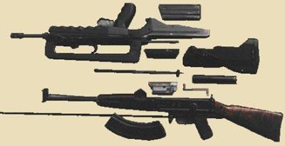 Французская 5,56-мм <a href='https://arsenal-info.ru/b/book/2710585100/70' target='_self'>автоматическая винтовка</a> FAMAS (сверху) и 7,62-мм автомат Коробова ТКБ-517 (снизу) в разобранном виде
