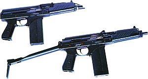 Вверху — 9-мм автомат 9А91 (первых партий выпуска) с компенсатором; внизу — 9-мм автомат 9А91 (последних партий выпуска) без компенсатора