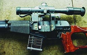 Прицел оптический ПСО-1-1, смонтированный на винтовке ВСС