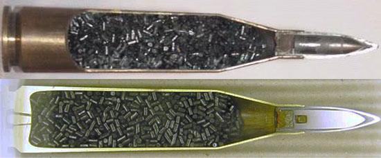 Patrone 318 с бронебойной пулей (сверху) и бронебойно-химической пулей (снизу)