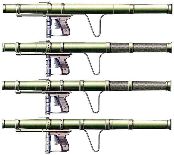 Сверху вниз: ручной противотанковый гранатомет системы Цветича РБ 44 мм М57, РБ М57 отремонтированный, РБ М57А1, М57А2