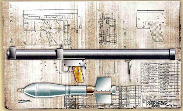 Ручной противотанковый гранатомет со съемным однорядным магазином на три капсюля-воспламенителя, расположенным у заднего края ствольной коробки