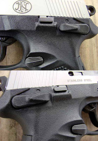 вид на защелку магазина, рычаги предохранителей и затворной задержки, расположенных с обеих сторон пистолета FNP-45