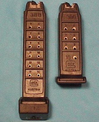 магазины под патрон .380 Auto емкостью 15 патронов для Glock 25 (слева) и 10 патронов для Glock 28 (справа)