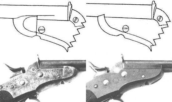 Nagant M 1877 «модель первого типа» - слева и «модель второго типа» - справа