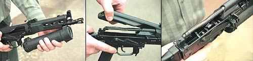 Порядок неполной разборки пистолета-пулемета «Бизон»: 1 - нажать на защелку магазина и отделить его; 2 - нажать на выступающую часть штока возвратной пружины и отделить крышку ствольной коробки; 3 - отелить возвратный механизм; 4 - отвести затвор в крайнее заднее положение и извлечь его из ствольной коробки; 5 - повернуть фиксатор ствольной накладки на 90 град. и отделить её