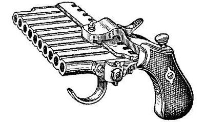 Пеппербоксы в России. Французский пеппербокс типа «горизонтальная гармоника» Десять стволов «гармоники» располагаются в одном горизонтальном ряду, а с каждым выстрелом ряд стволов сдвигается относительно ударного механизма подобно каретке пишущей машинки. Попасть во что-либо из такого оружия было очень сложно, как и удержать его от перекоса. Кроме того, подобный пистолет мог быть исключительно мелкокалиберным (0.22, например) и годился разве что для самообороны на близких расстояниях.