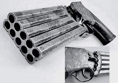 Пистолет конструкции Джонса, США, 1860 год Калибр – 0.36. Каждый «столбец» стволов имел свою собачку, которая «сощелкивалась» на одно деление вниз после каждого выстрела. Пистолет стрелял поочередно в Z-образной последовательности: первый правый ствол – первый левый – второй правый – второй левый – и т.д. В прошлом году один из экземпляров пеппербокса Джонса был продан на аукционе за $9000