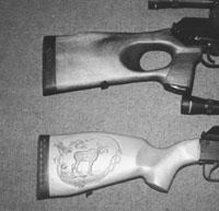 Приклады тестируемых ружей: сверху - «ВЕПРЬ-308», снизу - «САЙГА-308»