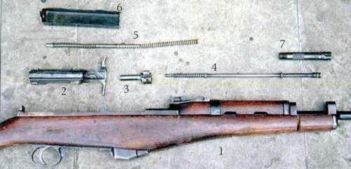 Детали карабина М1944: 1 - ствольная коробка со стволом, УСМ, штыком и ложей; 2 - затворная рама; 3 - затвор; 4 - газовый поршень с пружиной; 5 - возвратиый механизм; 6 - крышка ствольной коробки; 7 - газовая камера.