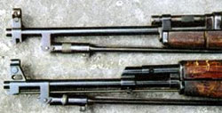 Основание мушки M1945 приобрело легко узнаваемые очертания, сохранившиеся на всех автоматах Калашникова вплоть до АК74М.