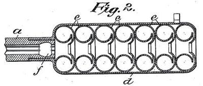 Чертеж глушителя с шайбами – завихрителями потока из американского патента 1909 года Хайрема Перси Максима