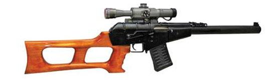 Винтовка снайперская специальная «Винторез», разработанная для использования подразделениями спецназначения, как и АС «Вал», снабжена интегрированным глушителем. Для этого оружия были разработаны специальные дозвуковые боеприпасы СП-5 (с обычной пулей) и СП-6 (с бронебойной) калибра 9 мм