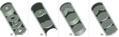 Конструкции глушителей. Схемы показывают различные варианты реализации конструкции глушителей (приборов бесшумной стрельбы): глушитель с отсечением газов с резиновыми шайбами с крестообразными разрезами (4), глушитель с обтюрацией (3), глушитель с завихрением потока с помощью разрезных шайб (2), дефлекторный глушитель с наклонными шайбами (1).