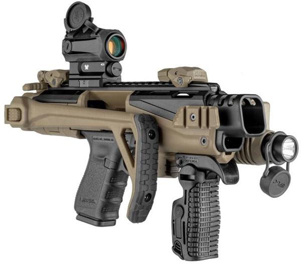 Со сложенным прикладом оружие имеет длину всего 326 мм и его можно носить в кобуре, как пистолет