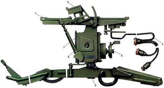 Унифицированный пусковой станок 9П56 для ПТРК 2-го поколения «Фагот» / «Конкурс» разработки КБП: 1 – ложемент для транспортно-пускового контейнера; 2 – узел крепления аппаратуры наведения; 3 – механизм наведения; 4 – кабели; 5 – тренога; 6 – подъемный винтовой механизм; 7 – вертлюг