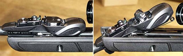 10-зарядный барабанный магазин расположен на казанной части параллельно стволу. При переломленном стволе переходит в перпендикулярное положение и производит заряжание.