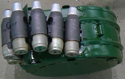 40-мм гранаты 7П39 в ленте заводского снаряжения для автоматического гранатомета «Балкан»