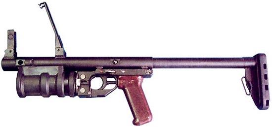РГМ-40 в боевом положении приклад выдвинут
