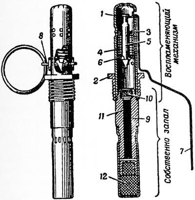 запал УЗРГ: 1 - трубка воспламеняющего механизма; 2 - соединительная втулка; 3 - направляющая шайба; 4 - боевая пружина; 5 - ударник; 6 - шайба ударника; 7 - спусковой рычаг; 8 - предохранительная чека с кольцом; 9 - втулка замедлителя; 10 - капсюль-воспламенитель; 11 - пороховой замедлитель; 12 - капсюль-детонатор.
