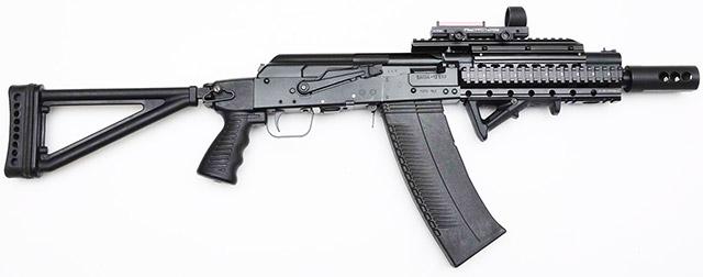 Тактическая версия самозарядного ружья Сайга, производящегося группой компаний «Калашников», заметно выделяется за счёт своего складного приклада с пистолетной рукояткой