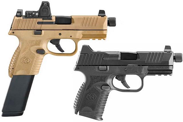 Пистолеты FN 509 Compact Tactical с магазинами на 12 и 24 патрона. На пистолет в расцветке FDE установлен коллиматорный прицел Trijicon