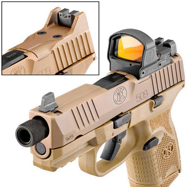 Вместо адаптера для монтажа коллиматорного прицела на <a href='https://arsenal-info.ru/b/book/2966502025/13' target='_self'>затвор пистолета</a> FN 509 Compact Tactical устанавливается пластиковая заглушка, упрощающая перезаряжание