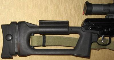 Регулируемый затыльник от СВ-98, установленый на приклад СВДМ