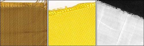 Образцы баллистических тканей, наиболее массово используемые в средствах индивидуальной бронезащиты (слева направо): «Кевлар» (ТСВМ), «Тварон», «Спектра»
