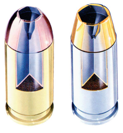 Схема американских пистолетных патронов 9-мм «Люгер» (в разрезе): слева — 9 х19 пистолетный патрон с экспансивной пулей Desintegrator с латунной гильзой, изготовленный фирмой Remington; справа — 9 х19 пистолетный патрон с полуоболочечной пулей с пустотой в головной части Gold Sabre Hollow-Point с латунной никелированной гильзой, изготовленный фирмой Remington