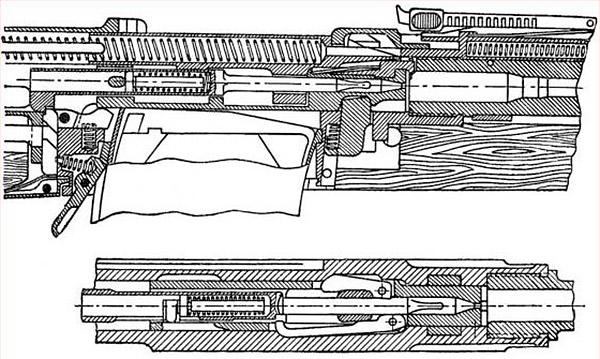 Положение деталей винтовки при запертом затворе. Ударник удерживается шепталом