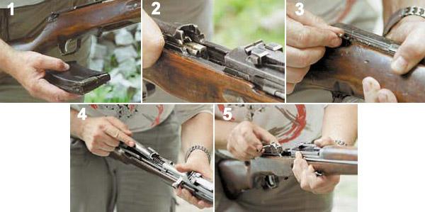 Частичная разборка ABC-36: 1. Отсоединить магазин, 2. Проверить на наличие патрона в патроннике, 3, Извлечь флажок-замыкатель крышки ствольной коробки, 4. Отделить крышку ствольной коробки с возвратной пружиной, 5. Отделить затвор со стеблем затвора и ударником