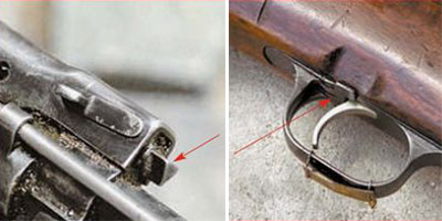 Слева: стрелкой показан газовый регулятор. Справа: предохранитель винтовки раполагался в задней части спусковой скобы и запирал спусковой крючок (на фото предохранитель включен)