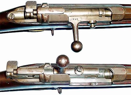 Затвор Mauser M 1871 в закрытом (сверху) и открытом (снизу) состоянии