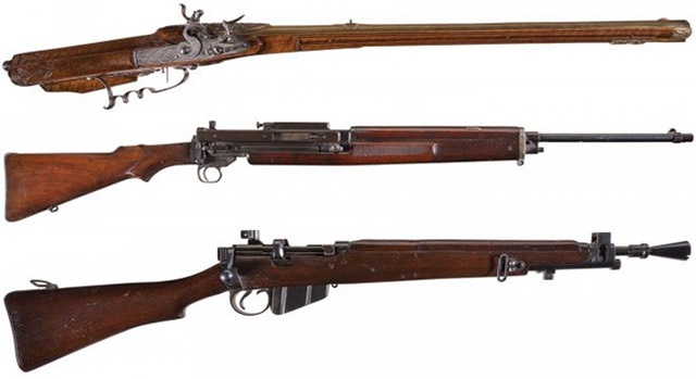 Сверху - вниз: Andreas Weschgin Air Gun, Vickers-Berthier Model 1919 Rifle, Ishapore #1 MkIII* SMLE Rifle in «Jungle» Configuration