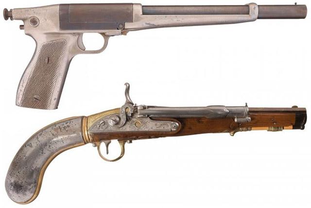 Сверху - вниз: California Arms Co. «Defiance», Girandoni System Multi-Shot Air Pistol